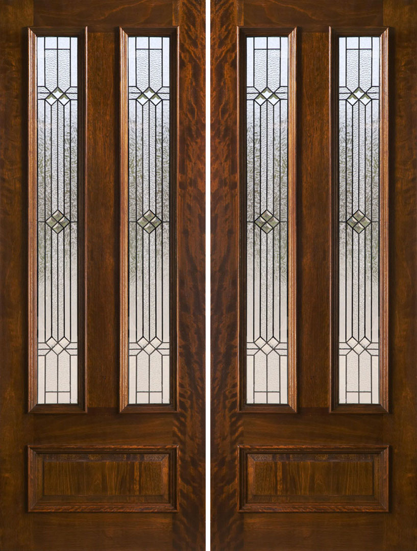 Double entry doors brown wooden and fiberglass double for Exterior front double doors