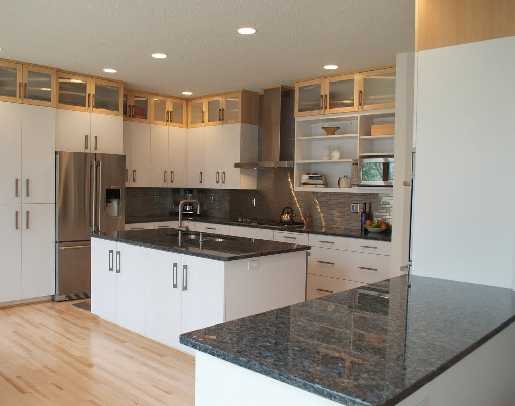 White Kitchens With White Granite Countertops White Cabinets Dark Countertops