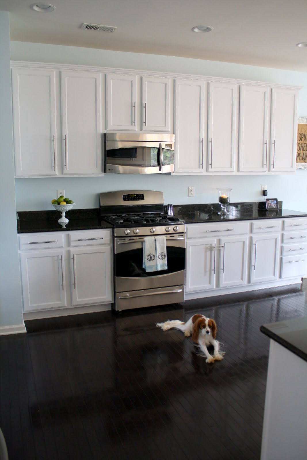 Kitchen white cabinets dark countertops give your for Darken kitchen cabinets