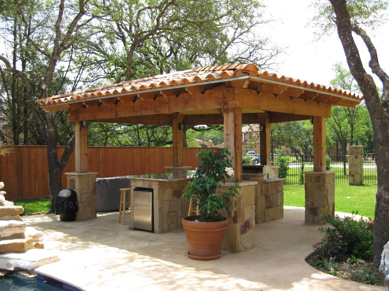 Outdoor kitchen gazebo 20 combinations of indoor and for Exterior kitchen ideas