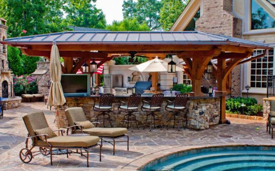 Outdoor pool and bar designs bring out the beauty with for Pool house designs with outdoor kitchen