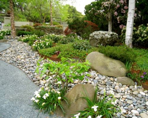 The dry stream river rock garden edging ideas interior for River rock landscaping ideas pictures