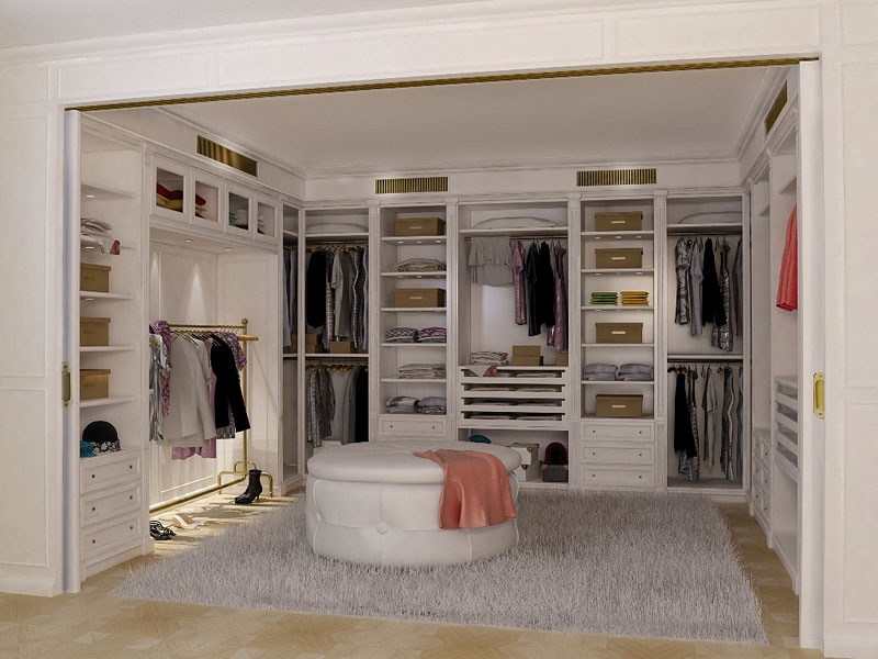 Beautiful Walk In Closet Design Cream Rug Round Sofa