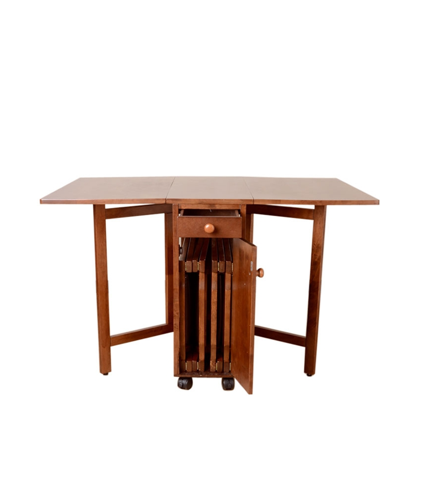 Folding kitchen table and 4 chairs 20 design ideas for for Table retractable