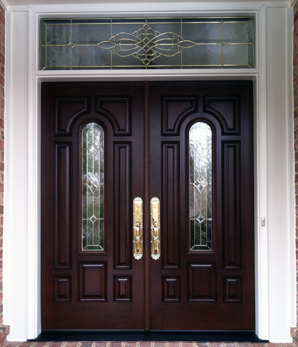 French country double entry doors give charming for Exterior entry door