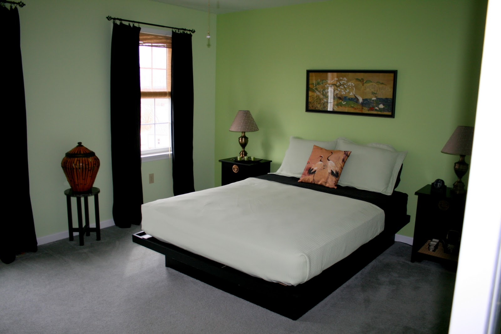 Green Room With White Furniture Interior Exterior Doors