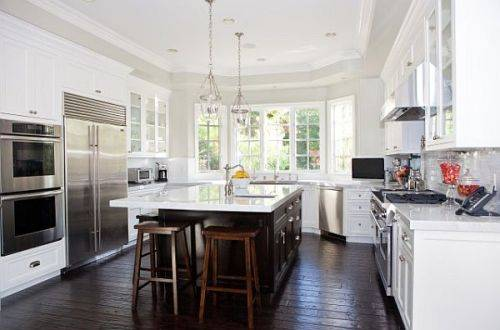 White Kitchen Cabinets Dark Wood Floors photo - 2