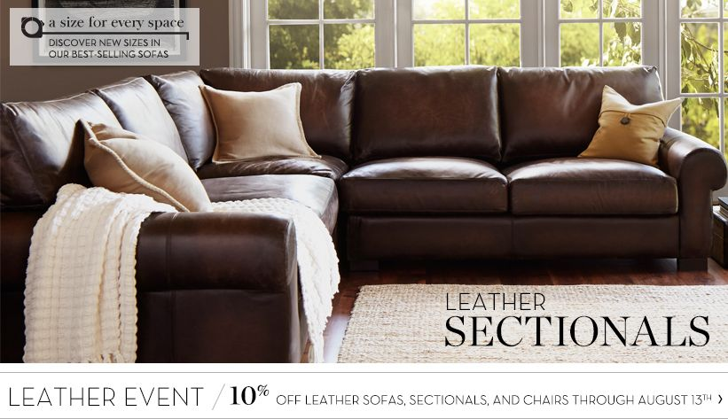 leather sectional sofas pottery barn