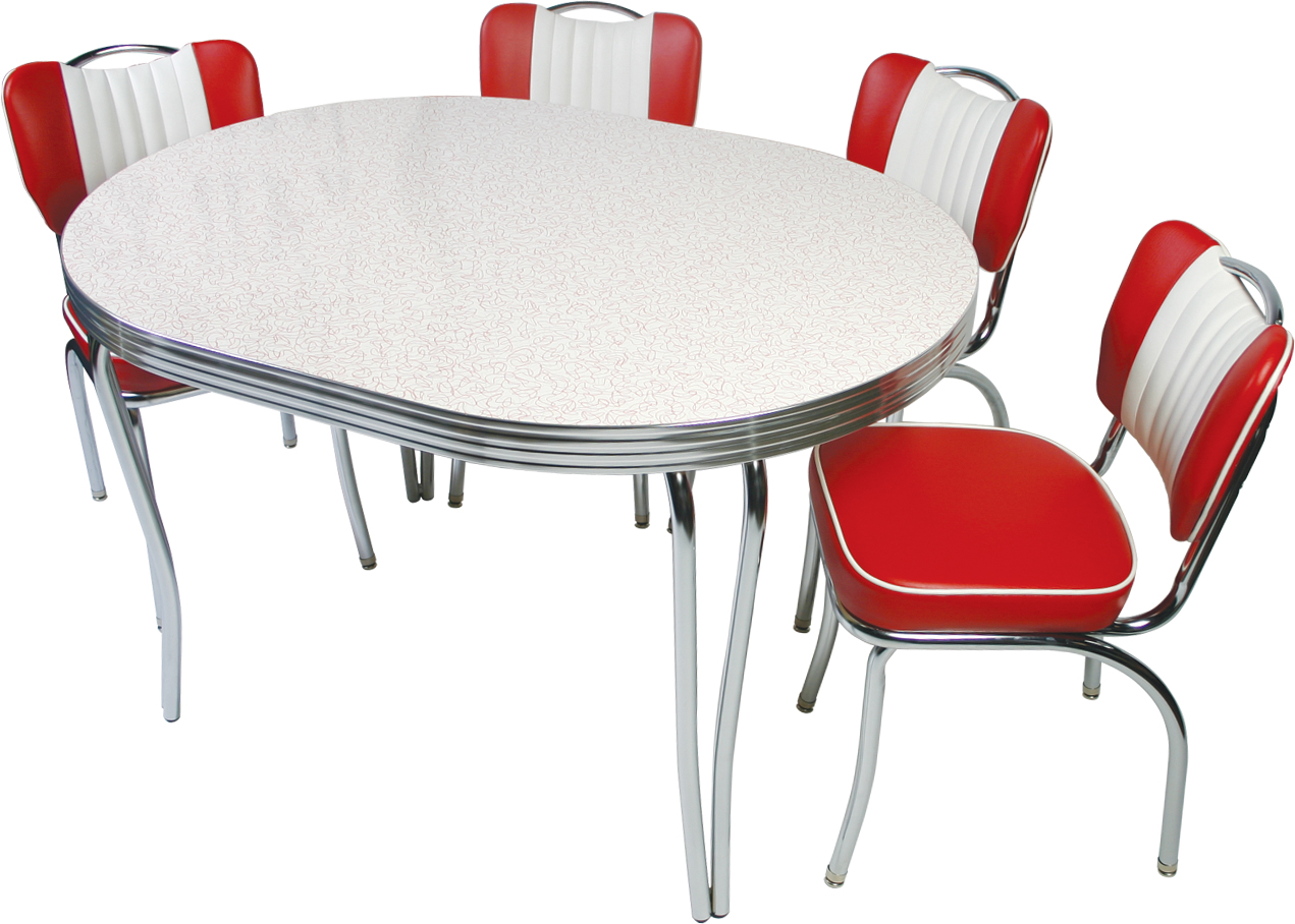 red retro kitchen table chairs - when red become a decoration