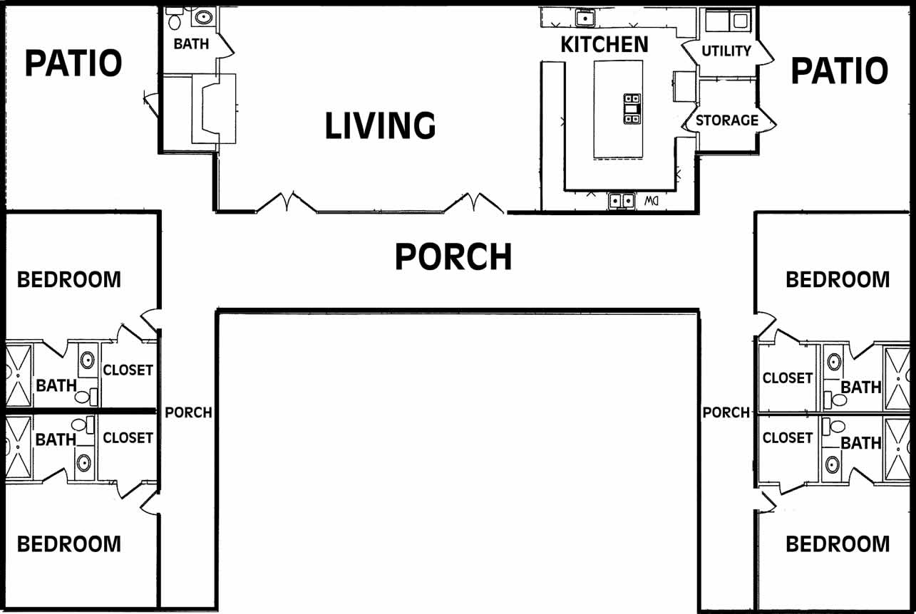 U shaped ranch house plans for U shaped floor plans