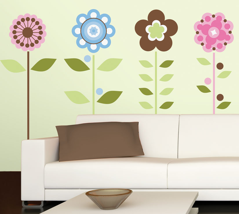 Decorate with wall stickers flowers kids