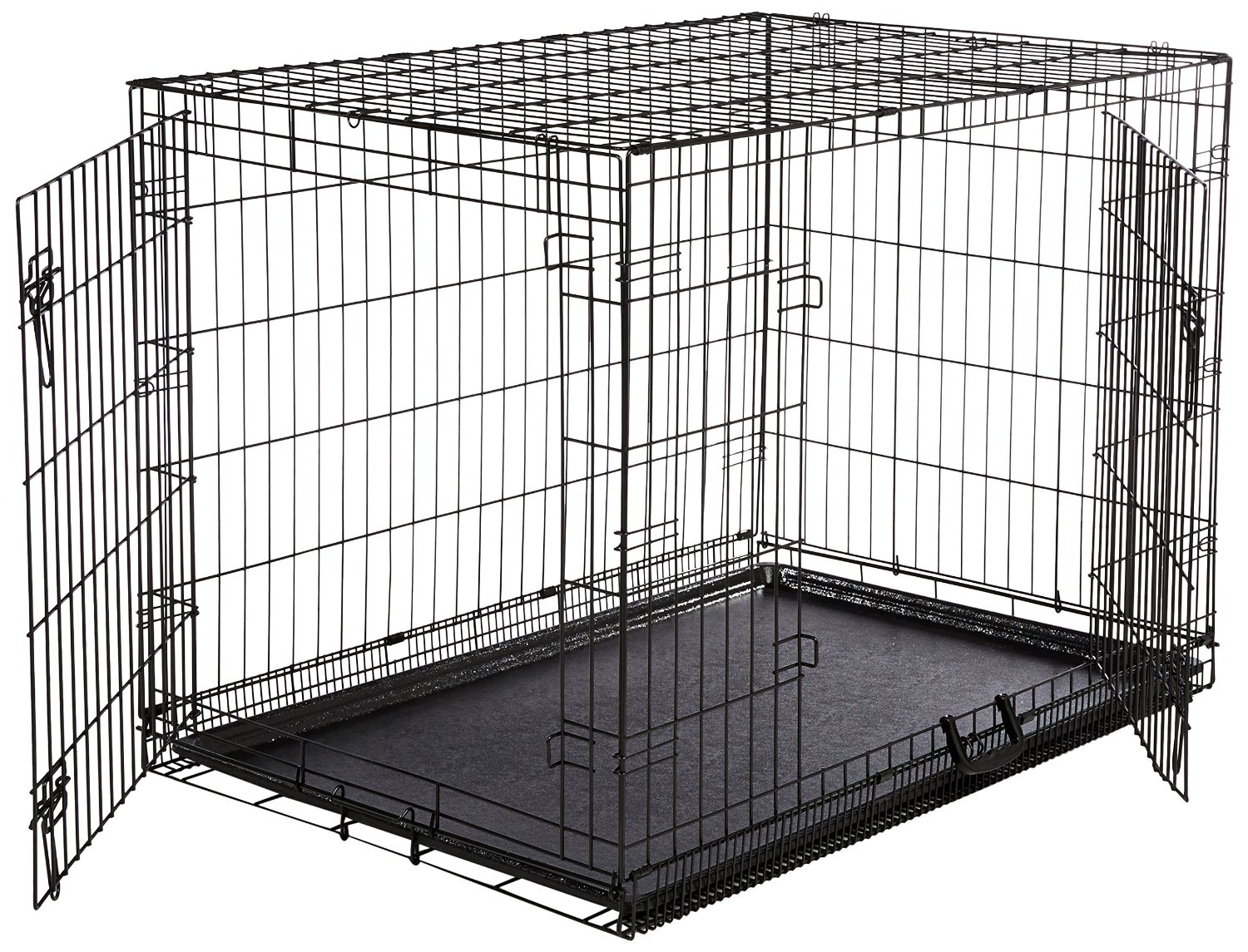 Double door dog crate image mag for Double door with dog door