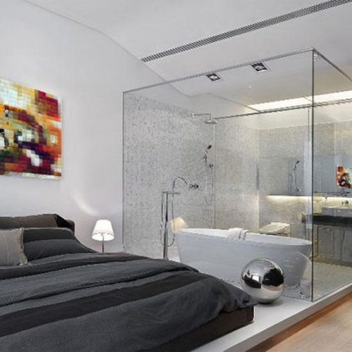 Glass wall dividers bathroom glamor and modern style - Bathroom glass partition designs ...