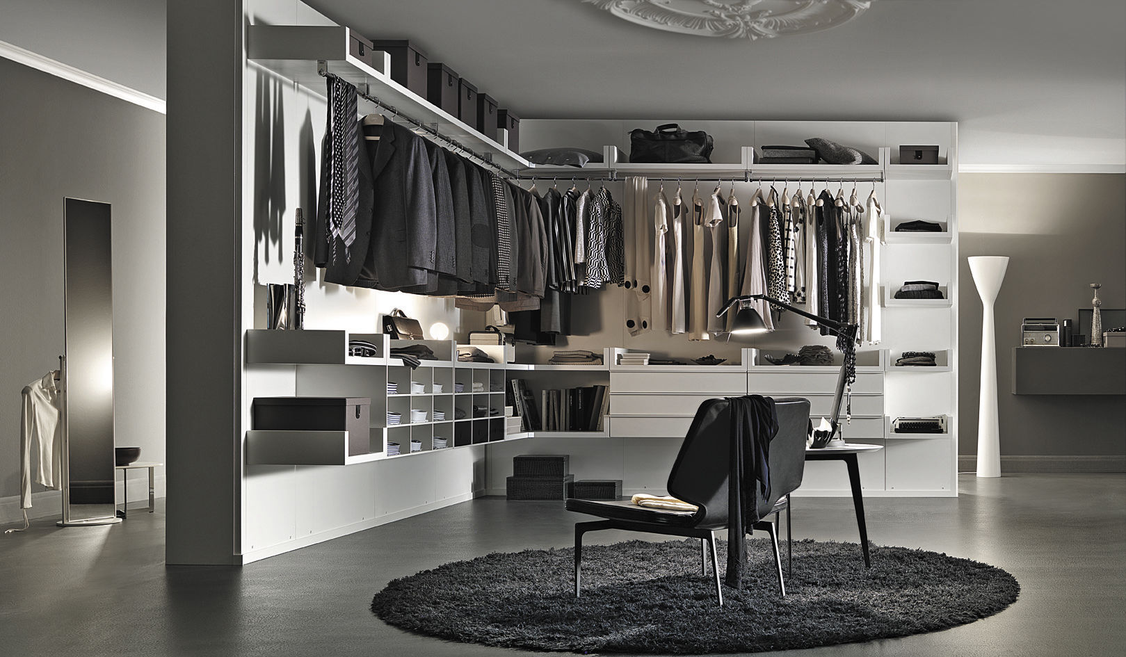 contemporary walk in closet ideas for both men and women. Black Bedroom Furniture Sets. Home Design Ideas