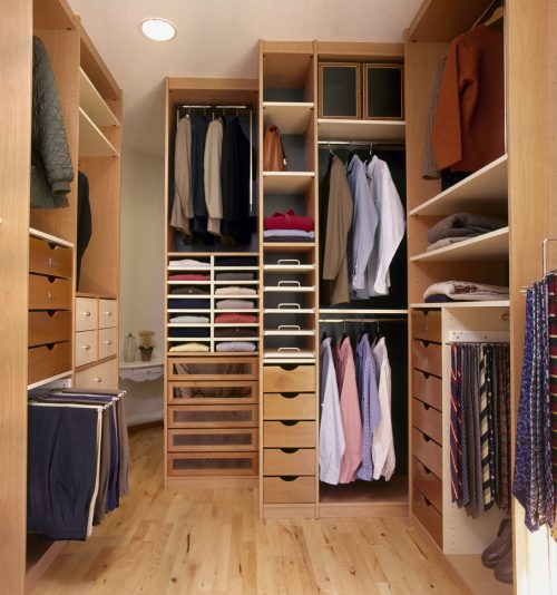 modern dressing room with parquet floor
