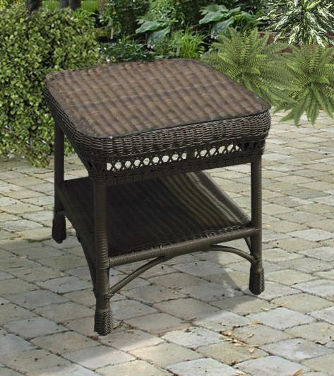 Bar Harbor Outdoor Wicker Accent Table photo - 5