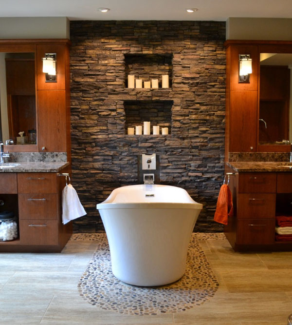 Bathroom Stone Wall Design photo - 1