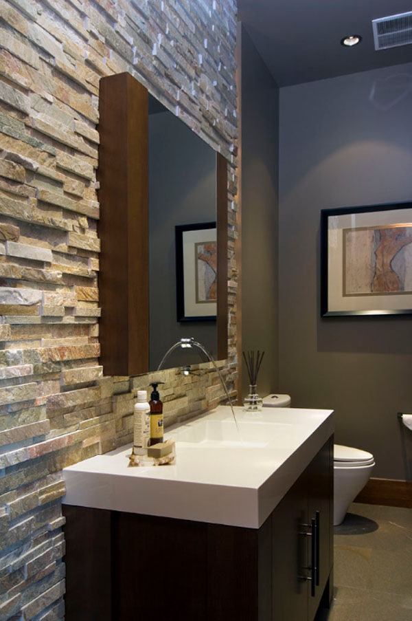 Bathroom Stone Wall Design photo - 2