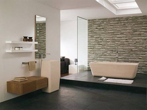 Bathroom Stone Wall Design photo - 4