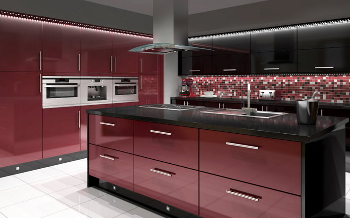 Black and Red Modern Kitchen photo - 1