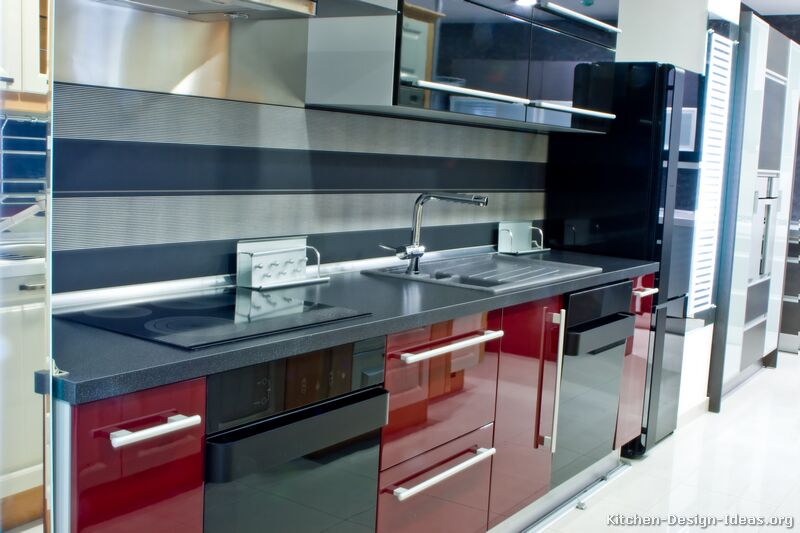 Black and Red Modern Kitchen photo - 2