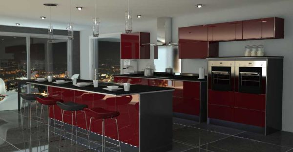 Black and Red Modern Kitchen photo - 4