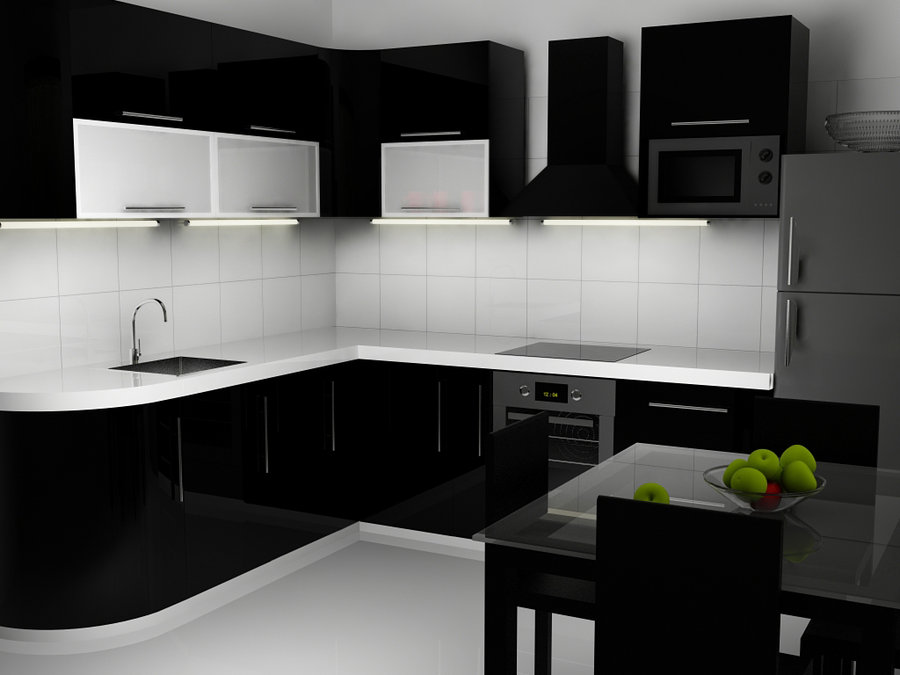 Black and White Kitchen Interior photo - 2