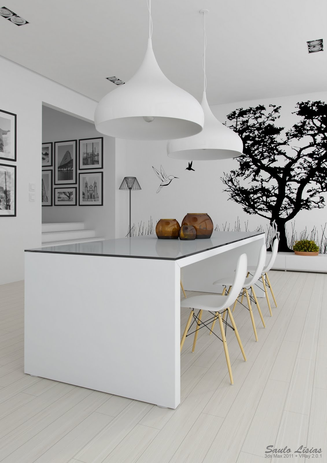 Black and White Kitchen Interior photo - 3