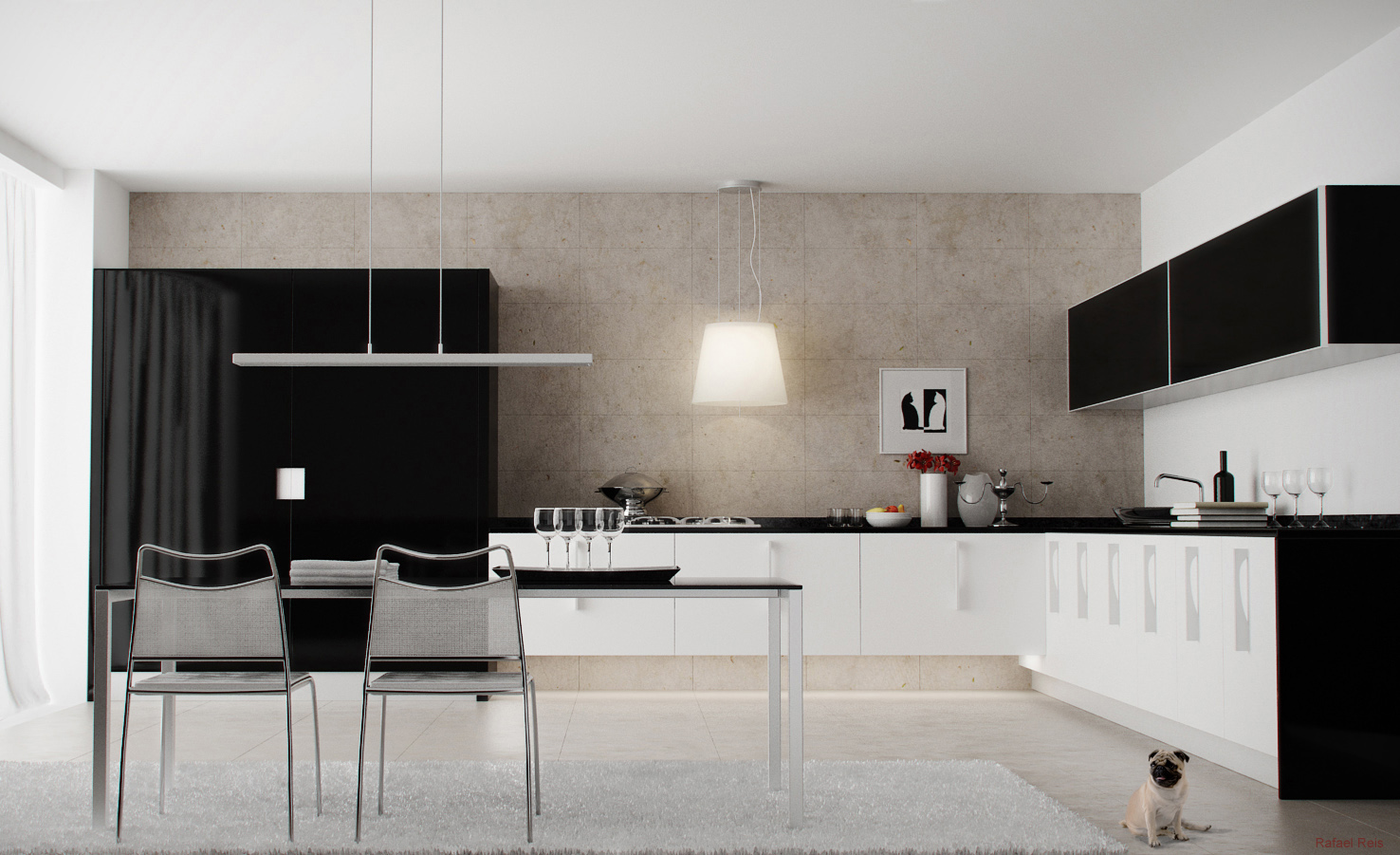 Black and White Kitchen Interior photo - 4