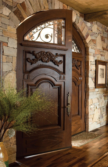 Elegant Mahogany and Glass Arch Double Front Door Home Design ...
