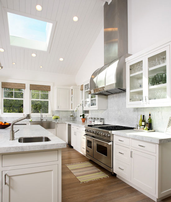 High Ceiling Kitchen Interior Exterior Doors