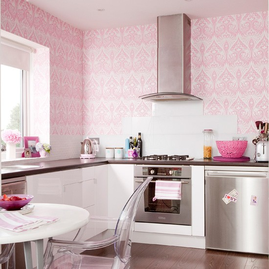 Pink girly kitchen wallpaper photo - 1