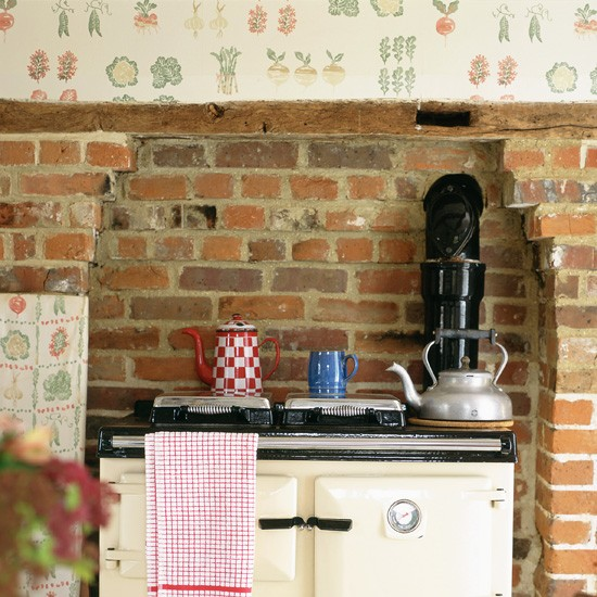 Rustic Kitchen with Fruit and Vegetable Print Wallpaper photo - 2