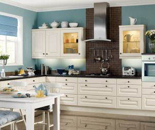 White Kitchen with Dark Blue Tiling photo - 5