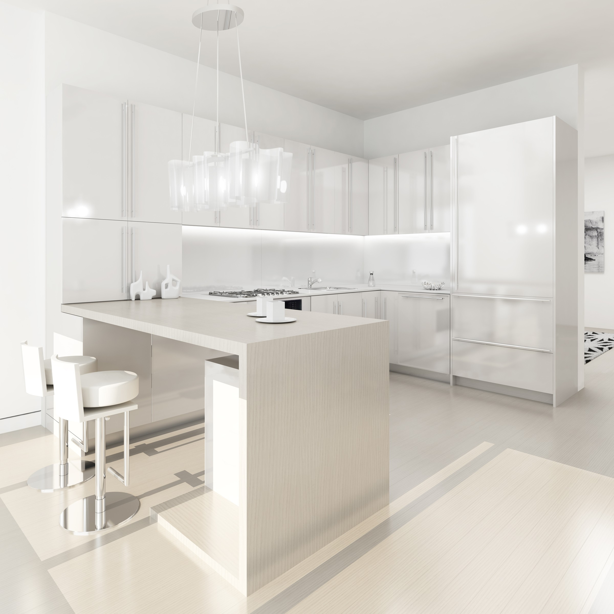 White Model Kitchen Interior photo - 3