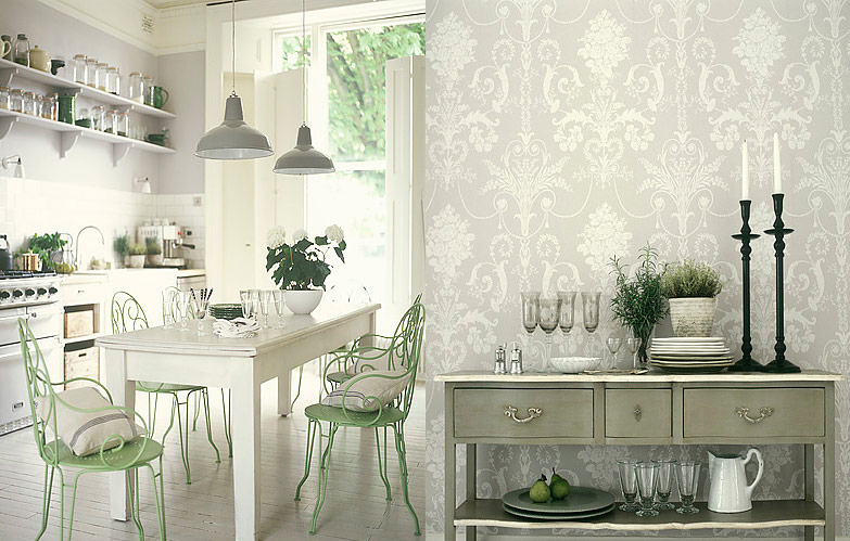 White kitchen with Retro Wallpaper photo - 2