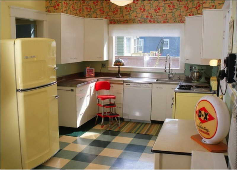 White kitchen with Retro Wallpaper photo - 5