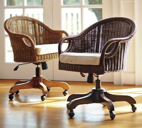 Wingate Rattan Swivel Desk Chair photo - 1