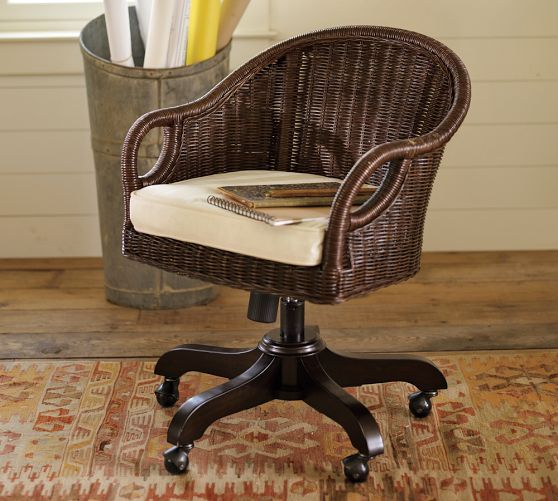 Wingate Rattan Swivel Desk Chair photo - 4