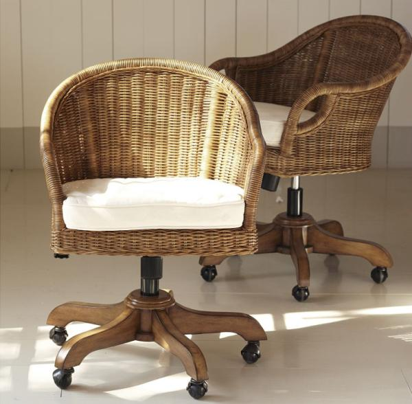 Wingate Rattan Swivel Desk Chair photo - 5