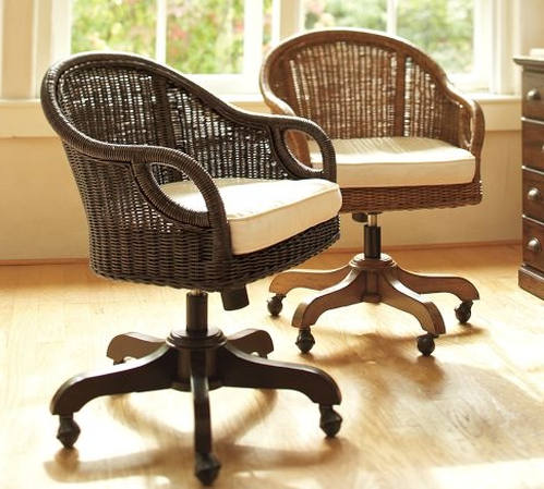Wingate Rattan Swivel Desk Chair photo - 6