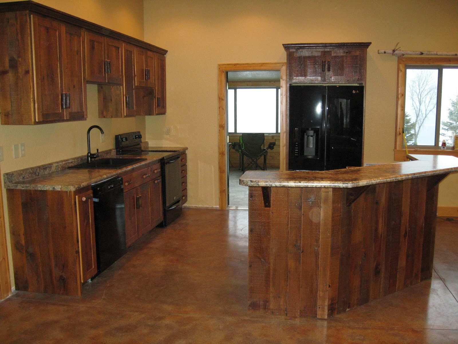 Wooden Rustic Kitchen Cabinets photo - 2