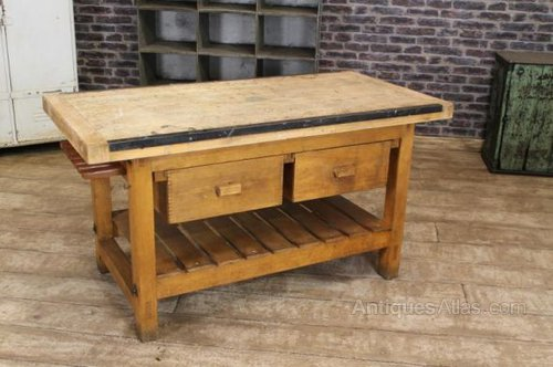 antique kitchen table with bench photo - 3
