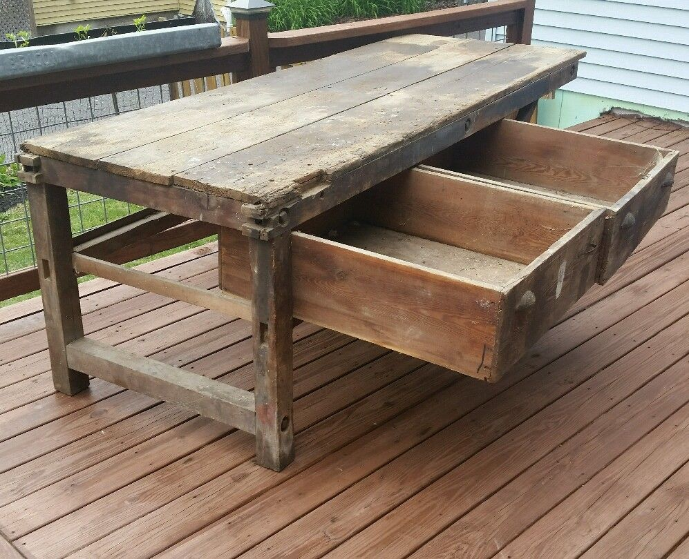 antique kitchen table with bench photo - 4