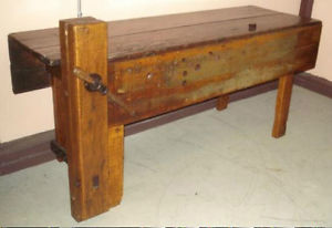 antique kitchen table with bench photo - 5