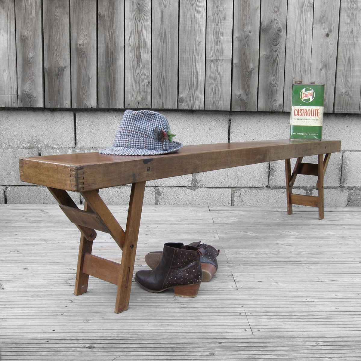 antique kitchen table with bench photo - 6