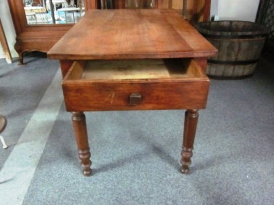 antique kitchen table with drawer photo - 3