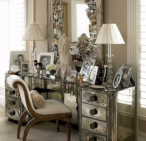 antique mirrored bedroom furniture photo - 5