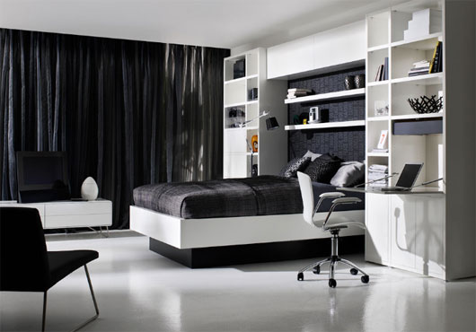 bedroom furniture black and white photo - 3
