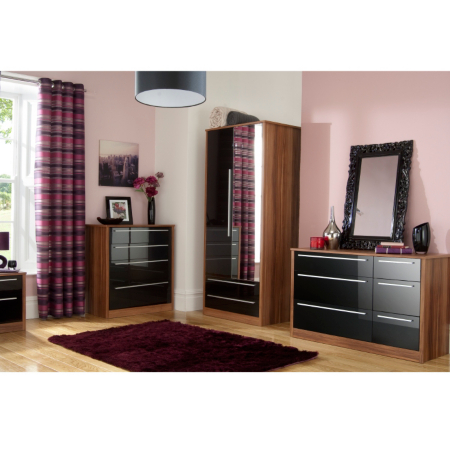 bedroom furniture black gloss and walnut photo - 4